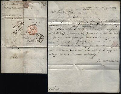 1822 London + Add ½ to FALKIRK Letter re Ship PRINCE OF WALES sold in GLASGOW