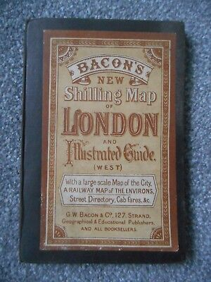 BACON`S NEW SHILLING MAP OF LONDON - hardbound - fold out - interesting adverts
