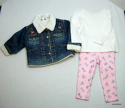 Gap & The Children's Place Girls 12-18 Month Outfit and Jacket CUTE EUC