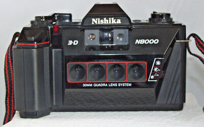 Nishika 3-D N8000 Stereo Camera with 30mm Quadra Lens System with Case