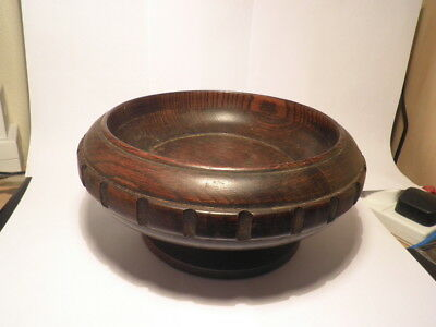 "Vintage Treen Heavy Oak Fruit Bowl 9.5"" Dia 1.5k Dentil Pattern to Body"