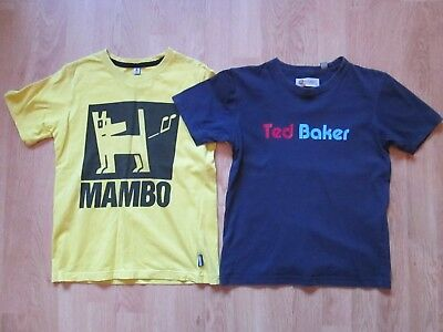 Boy's Two T-Shirts Ted Baker & Mambo Size 8 Years Dark Blue & Yellow With Logo
