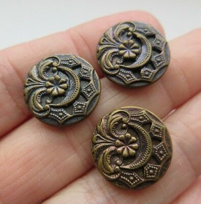 Lovely Lot of 3 Antique~ Vtg Pierced Mirror Back Metal BUTTONS Matching (S22)