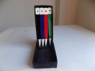 Art Deco Stunning Set Of 4 Bakelite Bridge Propelling Pencils In Original Box