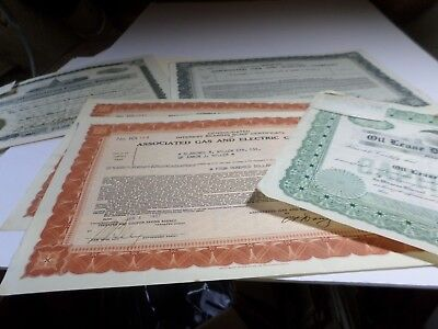 6 Pc Mixed Lot Of Stock Certificates -1924 And 1937