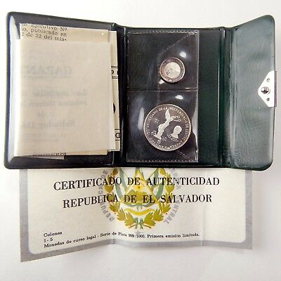 1971 El Salvador 150th Anniversary of Independence 2 Silver Coin Set Dalí A4588