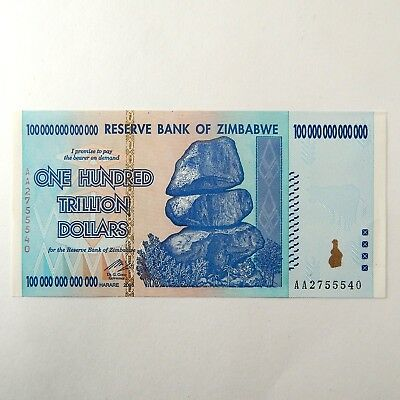 2008 Zimbabwe $100,000,000,000,000 One Hundred Trillion Dollar UNC Note A4595