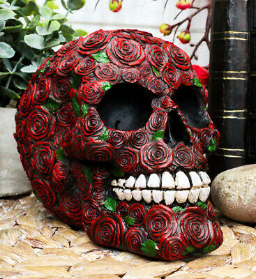 Day of The Dead Red Floral Roses With Green Petals Sugar Skull Figurine Decor