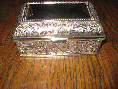 Silverplate Trinket Box  - 4 & 1/2 Inches x 2 & 3/4 inches