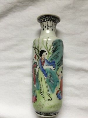 Antique Small Chinese Bud Vase Delicate Porcelain Hand Painted Signed