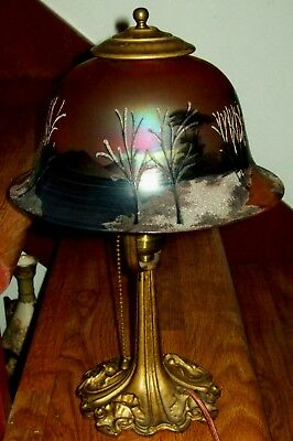 C.1920 Reverse Painted Iridescent Bohemian Glass Scenic Landscape Table Lamp
