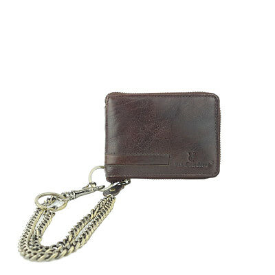 VCR8M Via Condtti Full Grain Leather Wallet with Metal Chain RFID PROTECTED-Brow