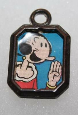 Vtg Metal Frame Charm Or Pendant With Popeye's Olive Oil Animated Graphic Inside