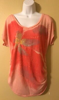 Motherhood Maternity pink side ruched Blouse Shirt top sz L SPRING/SUMMER!