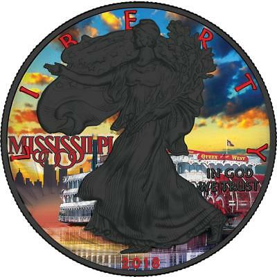 USA 2018 1$ Liberty Silver Eagle Mississippi 1Oz Silver Ruthenium Coin PRESALE