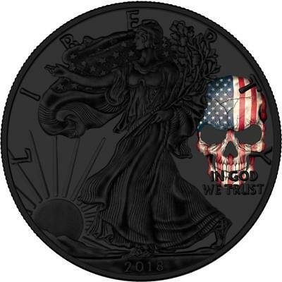 USA 2018 1$ Liberty Silver Eagle American Skull 1 Oz  Ruthenium Coin PRE-SALE