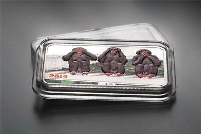 Tanzania 2014 1000 Shillings The Three Wise Monkeys 1 Oz Silver Proof Coin
