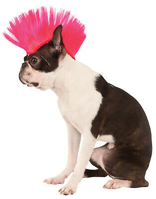 Electric Neon Hot Pink Pet Dog Cat Spikey Mohawk Costume Wig
