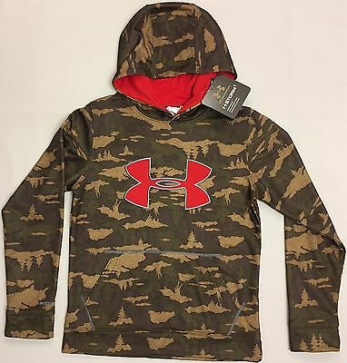 NWT youth Boys' YLG large UNDER ARMOUR hooded sweatshirt COLDGEAR hoodie camo