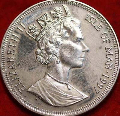 Uncirculated 1997 Isle of Man One Crown Silver Foreign Coin