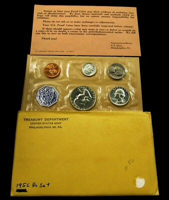 1956 US Mint Silver Proof Set Flat Pack w/ COA & Envelope - 5 Coins Uncirculated