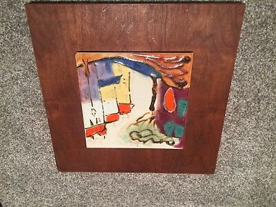 Mid Century Eames Modern Harris Strong Abstract Handpainted Ceramic Tile Art