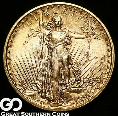 1908 Double Eagle, $20 Gold St Gaudens, No Motto ** Free Shipping!