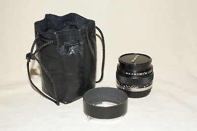 OLYMPUS OM-SYSTEM G.ZUIKO AUTO-S 1:1.4 50mm MF LENS WITH HOOD & POUCH EUC 7868
