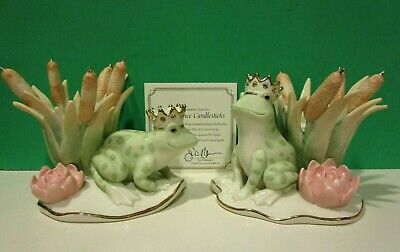 LENOX PRINCE FROG CANDLESTICKS set NEW in BOX with COA