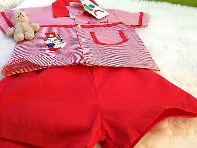 AUTHENTIC VINTAGE  INFANT BABY CHILDRENS 2 PIECE  ROMPER SUIT 6M 70 s UNUSED