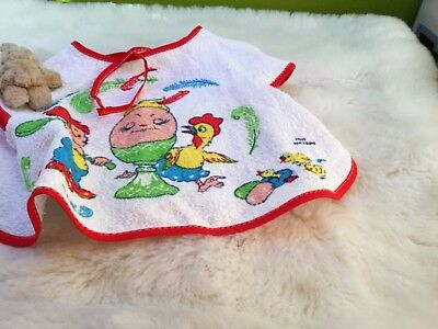 AUTHENTIC VINTAGE 70s UNUSED  BABY BIB APRON BOYS GIRLS 6 MONTHS plus