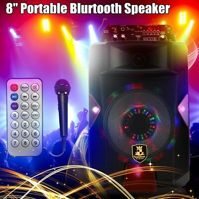 Portable 8 Inch 200W Bluetooth Speaker PA System Power Amplifier TF USB AUX AU