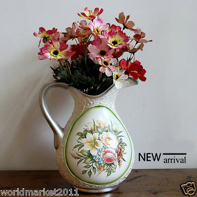 European Style  Household Decoration Ceramic Vase Pink Artificial Flowers