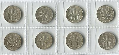USA Silver Dimes Coins - Selection of 8 x Different Dates