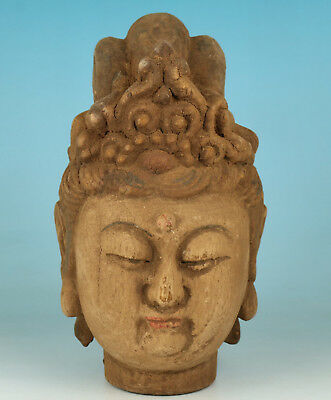 Exquisite Chinese Old Hand-Carved Wood Kwan-yin Head Figure Statue 观音头