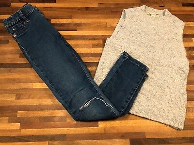 RIVER ISLAND Blue Skinny Ripped Knee Jeans And Grey Tank Top Age 7-8 GREAT COND