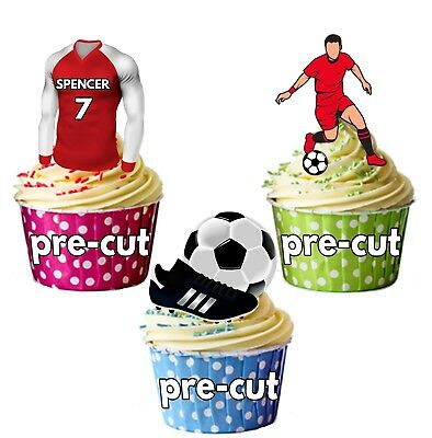 PRECUT Personalised Football Party Pack Cake Toppers Decorations Arsenal Colours
