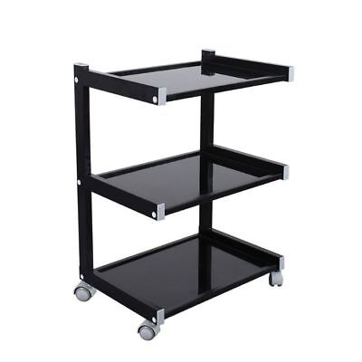 Glass Salon Trolley Hairdressing Beauty Spa Product Display Cabinet Black