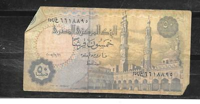 Egypt #62I 2005 Good Circulated 50 Piastres Banknote Paper Money Currency  Note
