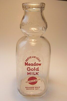 Vintage Meadow gold dairies milk cream top bottle quart the cream whips pat app