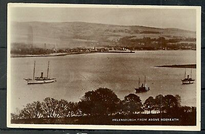 Postcard : Scotland Helensburgh viewed from above Rosneath w Steam Yacht RP