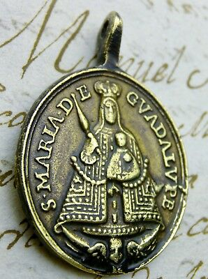 Antique Spanish Colonial St Jerome O.L. of Guadalupe Spain Catholic Shrine Medal