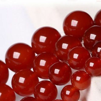4/6/8/10MM Natural Smooth Red Jade Chalcedony Round Gemstone Loose Beads 15''