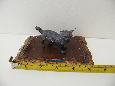 1882 F. BERGMAN BRONZE CAT ON A RUG   Signed & Dated