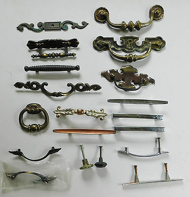 Vintage Brass Chrome Cabinet Hardware Lot Handles