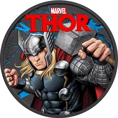 Tuvalu 2018 $1 Marvel - Thor 1oz Silver Black Ruthenium Coin