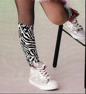 NWT Stirrup Socks Leggings Knee High Black White Zebra Pattern Large
