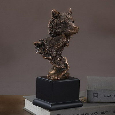 "Double Wolf Head 5"" x 10""  Beautiful Bronze Statue / Sculpture Brand New"