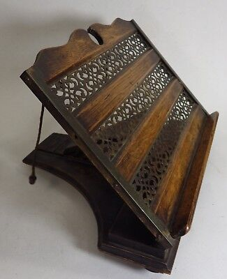 Vintage Folding Book Rest Wooden with Brass Fretwork