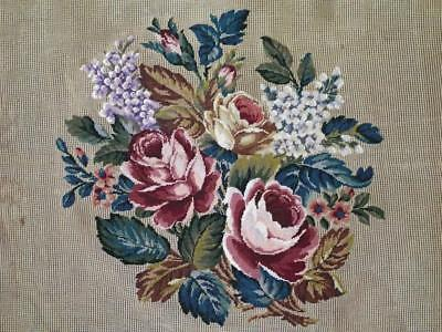 """LG Vintage Bucilla Pre-Worked CABBAGE ROSES Petitpoint Needlepoint Canvas 28"""""""